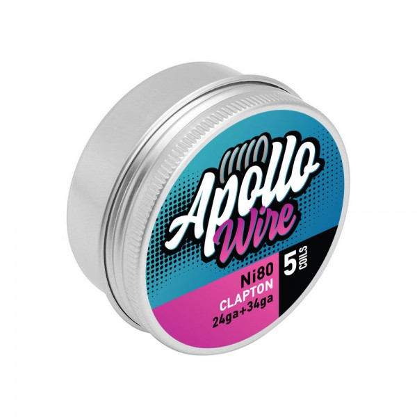Apollo Ni80 Clapton 24ga+34ga / 0.48ohm / 5 Coils - Apollo Wire