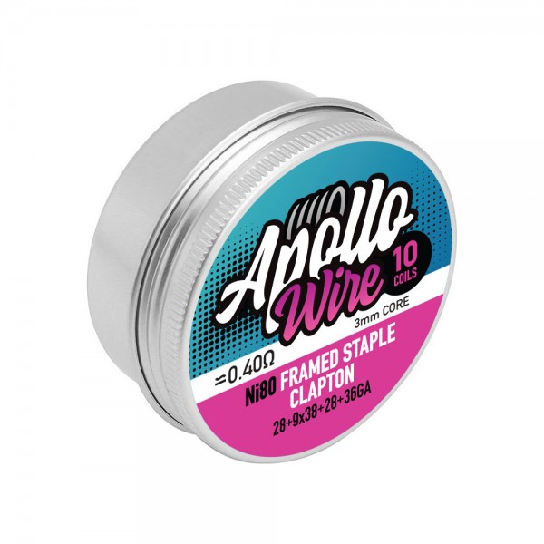 Apollo Ni80 Frame Staple Clapton 28+9x38+28+36ga / 0.4ohm / 10 coils