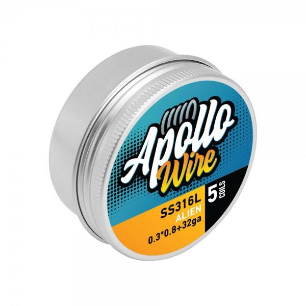 Wires & Cotton - Apollo SS 316L Alien  0.3x0.8+32ga / 0.25ohm / 5 Coils