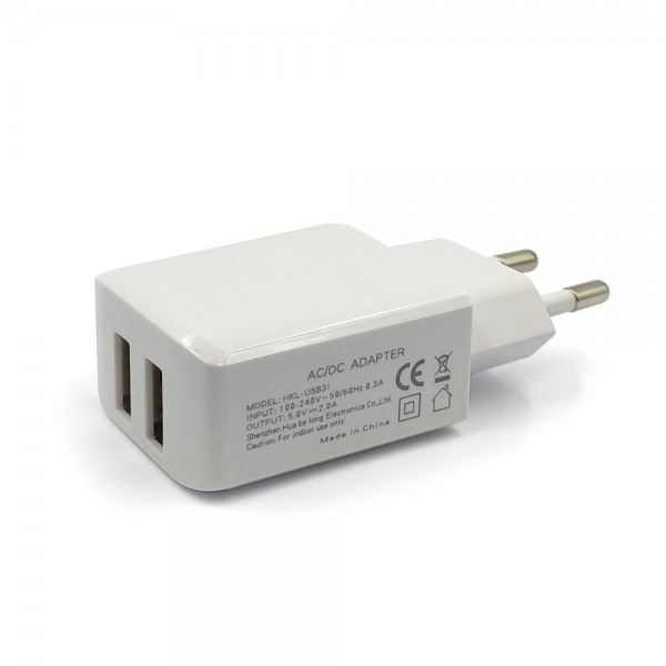 Chargers - 2xUSB Wall Charger 220V 5V-2A